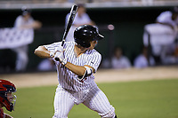 Seby Zavala (21) of the Kannapolis Intimidators at bat against the Hagerstown Suns at Kannapolis Intimidators Stadium on June 14, 2017 in Kannapolis, North Carolina.  The Intimidators defeated the Suns 10-1 in game two of a double-header.  (Brian Westerholt/Four Seam Images)