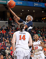 Notre Dame guard Jewell Loyd (32) shoots over Virginia guard Lexie Gerson (14) during the first half of an NCAA basketball game Sunday Jan. 12, 2014 in Charlottesville, VA. (Photo/The Daily Progress/Andrew Shurtleff)