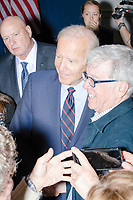 Democratic presidential candidate and former Vice President Joe Biden greets people and poses for selfies after speaking at a campaign event at the Governor's Inn and Restaurant in Rochester, New Hampshire, on Wed., October 9, 2019.<br />  At this event, Biden said for the first time that he supported the impeachment inquiry against current President Donald Trump.