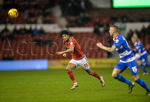 26.01.2016. City Ground, Nottingham, England. Skybet Championship. Nottingham Forest versus Queens Park Rangers. Ryan MendesDe Graca of Nottingham Forest and Paul Konchesky of Queens Park Rangers race for the loose ball.