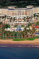 Aerial view of Maui's Grand Wailea hotel and the beachfront.