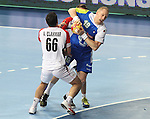 21.01.2013 Barcelona, Spain. IHF men's world championship, Eighth Final. Picture show Miha Zvizej in action during game slovenia vs Egypt at Palau St Jordi