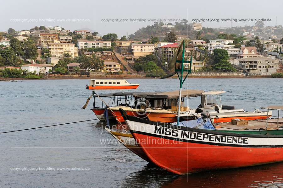 SIERRA LEONE, Freetown, boats in harbour, boat name Miss Independence