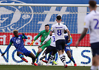 8th February 2020; DW Stadium, Wigan, Greater Manchester, Lancashire, England; English Championship Football, Wigan Athletic versus Preston North End; Daniel Johnson of Preston North End beats Wigan Athletic goalkeeper David Marshall to give his side a 0-2 lead after 47 minutes