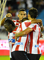 BARRANQUILLA - COLOMBIA - 11 - 10 - 2017: Los jugadores de Atletico Junior celebran el gol anotado a Patriotas F. C., durante partido de vuelta entre Atletico Junior y Patriotas F. C., por la semifinal de la Copa Aguila 2017, jugado en el estadio Metropolitano Roberto Melendez de la ciudad de Barranquilla. / The players of Atletico Junior celebrate a scored goal to Patriotas F. C., during a match for the second leg between Atletico Junior and Patriotas F. C., for the semifinal of the Copa Aguila 2017 at the Metropolitano Roberto Melendez Stadium in Barranquilla city, Photo: VizzorImage  / Alfonso Cervantes / Cont.