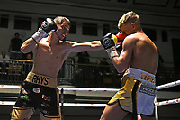 Rhys Edwards (black shorts) defeats Jonny Phillips during a Boxing Show at York Hall on 15th February 2020