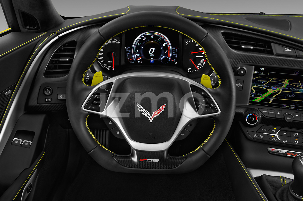 Car pictures of steering wheel view of a 2018 Chevrolet Corvette Z06-3LZ 2 Door Convertible Steering Wheel