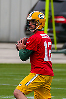 Green Bay Packers quarterback Aaron Rodgers (12) during an Organized Team Activity on May 23, 2017 at Clarke Hinkle Field in Green Bay, Wisconsin.  (Brad Krause/Krause Sports Photography)