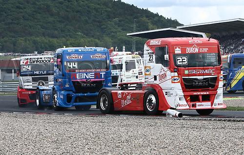 3rd September 2017, Most Racing Track, Most, Czech Republic; FIA European Truck Racing Championship; 3rd race, in the second lap, from left Norbert KISS ((HUN/Mercedes-Benz/tankpool24 Racing), Stephanie HALM (GER/MAN/Reinert Racing), Antonio ALBACETE ((ESP/MAN/Truck Sport Lutz Bernau)