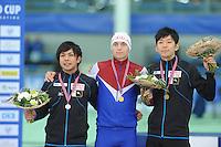 SPEED SKATING: STAVANGER: Sørmarka Arena, 31-01-2016, ISU World Cup, Podium 1000m Men Division B, Yuto Fujino (JPN), Mikhail Kazelin (RUS), Takuro Oda (JPN), ©photo Martin de Jong
