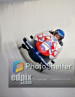5 January 2008: Former NASCAR Nextel Cup Competitor Larry Gunselman banks a turn at the 3rd Annual Chevy Geoff Bodine Bobsled Challenge at the Olympic Sports Complex on Mount Van Hoevenberg, in Lake Placid, New York. Gunselman finished fourth in the morning competition...Mandatory Photo Credit: Ed Wolfstein Photo