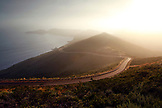 USA, California, San Francisco, a road winds along the foggy coast in the Marin Headlands
