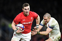 George North of Wales fends Mike Brown of England. Natwest 6 Nations match between England and Wales on February 10, 2018 at Twickenham Stadium in London, England. Photo by: Patrick Khachfe / Onside Images