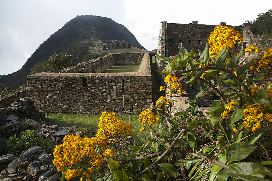 Remote Incan ruins of Choquequirao in the Peruvian Andes.
