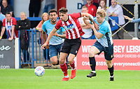 Lincoln City's Ellis Chapman vies for possession with Gainsborough Trinity's trialist<br /> <br /> Photographer Chris Vaughan/CameraSport<br /> <br /> Football Pre-Season Friendly (Community Festival of Lincolnshire) - Gainsborough Trinity v Lincoln City - Saturday 6th July 2019 - The Martin & Co Arena - Gainsborough<br /> <br /> World Copyright © 2018 CameraSport. All rights reserved. 43 Linden Ave. Countesthorpe. Leicester. England. LE8 5PG - Tel: +44 (0) 116 277 4147 - admin@camerasport.com - www.camerasport.com