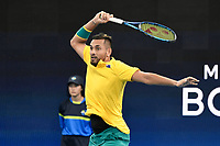 9th January 2020; Sydney Olympic Park Tennis Centre, Sydney, New South Wales, Australia; ATP Cup Australia, Sydney, Day 7; Great Britain versus Australia; Cameron Norrie of Great Britain versus Nick Kyrgios of Australia; Nick Kyrgios of Australia follows through on a hits a backhand to Cameron Norrie of Great Britain - Editorial Use