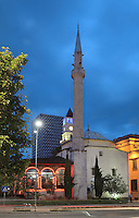 The Et'hem Bey Mosque or Xhamia e Et'hem Beut, begun 1789 by Molla Bey and finished in 1823 by his son Haxhi Ethem Bey, great-grandson of Sulejman Pasha, Tirana, Albania. The mosque is listed as a Cultural Monument of Albania. Tirana was founded by the Ottomans in 1614 by Sulejman Bargjini and became the capital of Albania in 1920. Picture by Manuel Cohen
