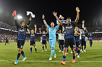 Stanford, CA - Saturday July 01, 2017: Chris Wondolowski, David Bingham, Anibal Godoy during a Major League Soccer (MLS) match between the San Jose Earthquakes and the Los Angeles Galaxy at Stanford Stadium.