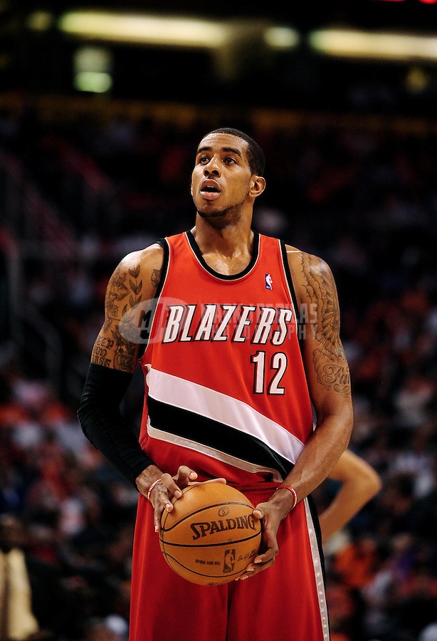 Apr. 20, 2010; Phoenix, AZ, USA; Portland Trail Blazers forward (12) LaMarcus Aldridge against the Phoenix Suns in game two in the first round of the 2010 NBA playoffs at the US Airways Center. Phoenix defeated Portland 119-90. Mandatory Credit: Mark J. Rebilas-