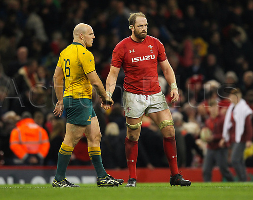 11th November 2017, Principality Stadium, Cardiff, Wales; Autumn International Series, Wales versus Australia; Stephen Moore of Australia and Alun Wyn Jones (Captain) of Wales shake hands at the final whistle