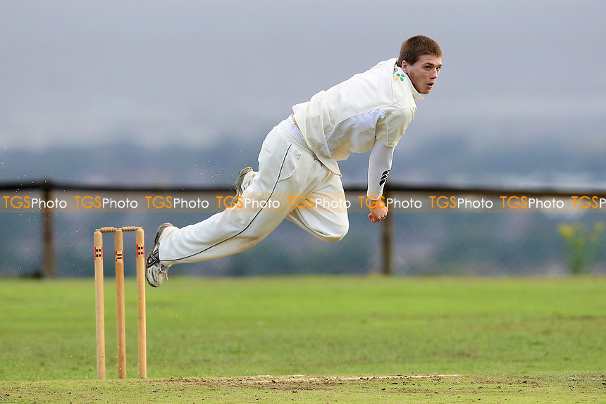 Mitcheson in bowling action for Havering - Havering-atte-Bower CC vs East Hanningfield and Great Burstead CC - Essex Cricket League - 27/08/11 - MANDATORY CREDIT: Gavin Ellis/TGSPHOTO - Self billing applies where appropriate - 0845 094 6026 - contact@tgsphoto.co.uk - NO UNPAID USE.