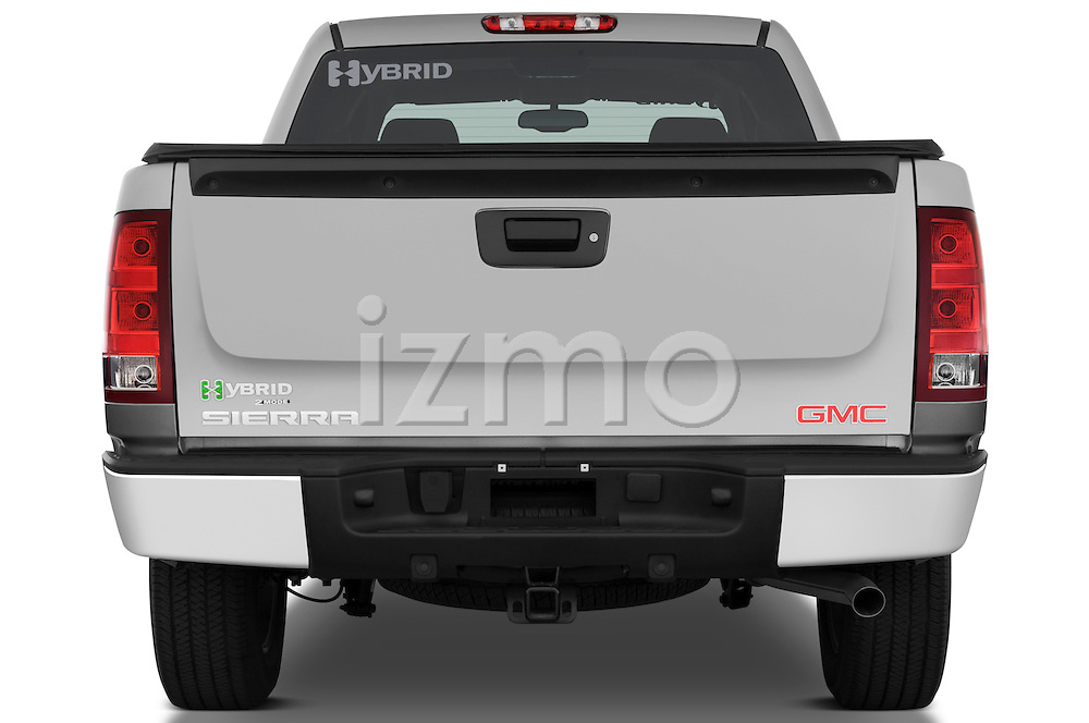 Straight rear view of a 2009 GMC Sierra Hybrid