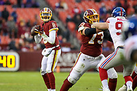 Landover, MD - December 9, 2018: Washington Redskins Josh Johnson (8) looks to make a pass during the  game between New York Giants and Washington Redskins at FedEx Field in Landover, MD.   (Photo by Elliott Brown/Media Images International)