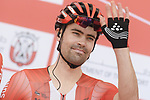 Tom Dumoulin (NED) Team Sunweb at sign on before the start of Stage 3 of the 2019 UAE Tour, running 179km form Al Ain to Jebel Hafeet, Abu Dhabi, United Arab Emirates. 26th February 2019.<br /> Picture: LaPresse/Fabio Ferrari | Cyclefile<br /> <br /> <br /> All photos usage must carry mandatory copyright credit (© Cyclefile | LaPresse/Fabio Ferrari)