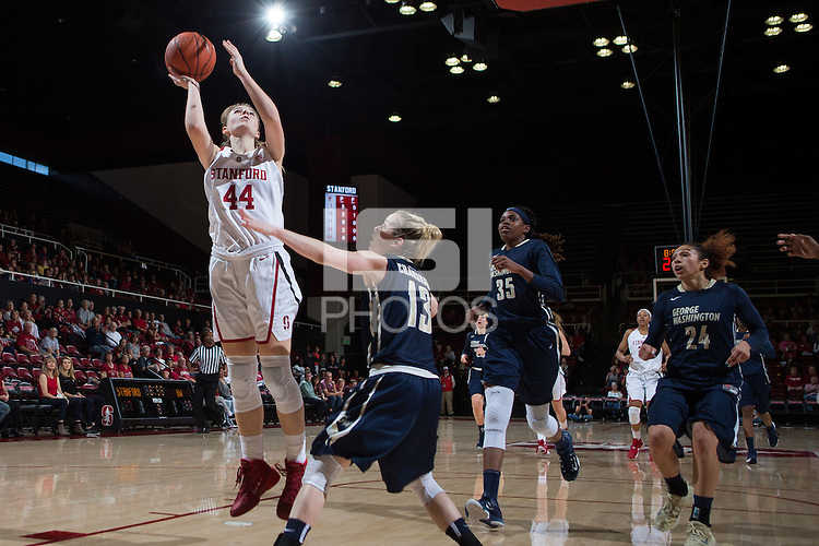 STANFORD, CA -- November 21, 2015: The Stanford Cardinal defeats the visiting George Washington Colonials 84-63 at Maples Pavilion.