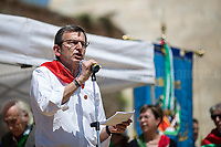 Luca Aniasi (President of the Partizan' Association),<br /> <br /> Rome, 25/04/2018. Today, to mark the 73rd Anniversary of the Italian Liberation from nazi-fascism ('Liberazione'), ANED Roma & ANPI Roma (National Association of Italian Partizans) held a march ('Corteo') from Garbatella to Piazzale Ostiense where a rally took place attended by Partizans, Veterans and politicians – including the Mayor of Rome and the President of Lazio's Region. From the organisers Facebook page:<<For the 25th of April, the 73rd Anniversary of the Liberation of Italy from nazi-fascism, while facing new threats to the world peace, it is necessary to remember that the Fight for Liberation triggered the greatest, positive, 'break' of the whole modern age of the Italian history. The Fight for the Liberation was supported by a great solidarity of the people. The memory of those who in the partizan struggle, in the camps of imprisonment, internment or extermination, opposed - even until the sacrifice of life - the dictatorship, the greed of territorial conquests, crazy ideologies of race supremacy, constitutes concrete warning against any attempt to undermine the foundations of the free institutions born of the Resistance. Memory is not an instrument of hatred or revenge, but of unity in a spirit of harmony without discriminations...<br /> (For the full caption please read the PDF attached at the the beginning of this story).<br /> <br /> For more info please click here: https://bit.ly/2vOIfNf & https://bit.ly/2r4iJy3 & http://www.anpi.it<br /> <br /> For the Wikipedia's page of the 'Liberazione' please click here: https://en.wikipedia.org/wiki/Liberation_Day_(Italy)<br /> <br /> For a Video of the event by Radio Radicale please click here: https://www.radioradicale.it/scheda/539534/manifestazione-promossa-dallanpi-in-occasione-della-73a-festa-della-liberazione