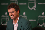AUGUSTA, GA - MARCH 23: Adam Scott of Australia smiles during the press conference after winning the 2013 Masters Tournament held in Augusta, Georgia at Augusta National Golf Club on Sunday, April 14, 2013. (Photo by Donald Miralle for Golf Digest..