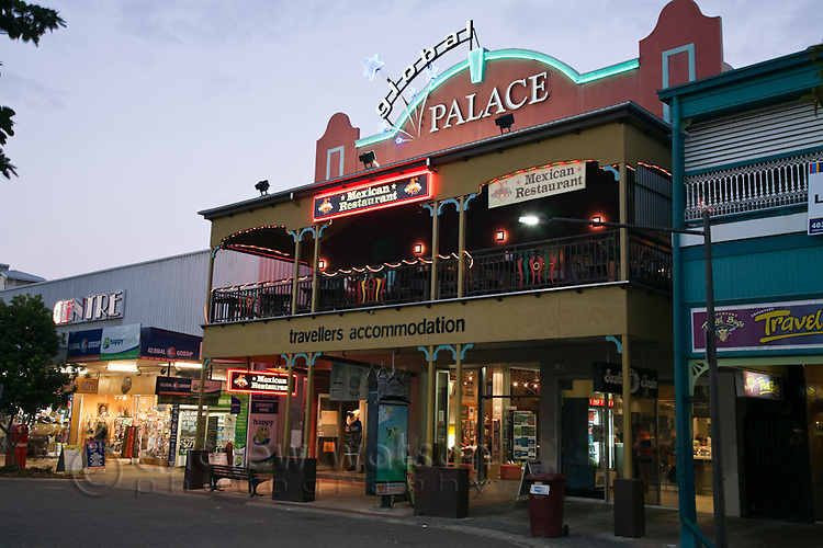 Backpacker hostel and shops on Shields Street.  Cairns, Queensland, Australia