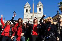 Roma 14 Febbraio 2013.One Billion Rising.Flash mob mondiale One Billion Rising, Hands off Women, contro la violenza sulle donne, a Trinità dei Monti.La Miss Italia Giusy Buscemi e Isabella Rauti e Nancy Brilli