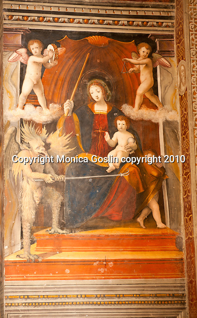 A 15th century fresco in the Santa Maria delle Grazie Church in Gravedona, a town on Lake Como Italy