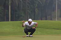 Gavin Green (Asia) on the 4th green during the Saturday Foursomes of the Eurasia Cup at Glenmarie Golf and Country Club on the 13th January 2018.<br /> Picture:  Thos Caffrey / www.golffile.ie