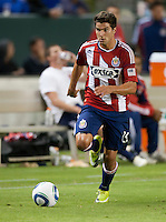 Chivas midfielder Sal Zizzo (15) moves the ball up the field during the second half of the game between Chivas USA and the New England Revolution at the Home Depot Center in Carson, CA, on September 10, 2010. Chivas USA 2, New England Revolution 0.