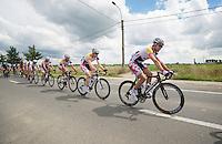 Lotto-Belisol Train on the tracks<br /> <br /> Eneco Tour 2013<br /> stage 1: Koksijde - Ardooie (175km)
