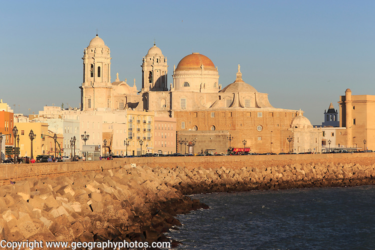 Cathedral church buildings viewed from the sea front, Cadiz, Spain