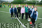 Transition Year Students from the Presentation Secondary School complete the Ladies Gaelic Football Association Transition Year (LGFA TY) Programme with a Ladies football FUNanza at  John Mitchel's GAA Grounds on Monday Pictured l-r Shannon Quill, Roisin O'Connell, William Harmon, National Ladies Football Development Officer, Joan O'Sullivan, Ladies Secretary John Mitchels and Rory Kilgallen, Development Officer for John Mitchels, Erica O'Sullivan, Aoife Doyle and Sharon O'Connor