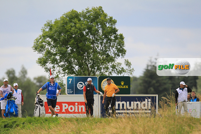 Andy Sullivan (ENG) and Francesco Molinari (ITA) on the 7th tee during Round 3 of the 100th Open de France, played at Le Golf National, Guyancourt, Paris, France. 02/07/2016. <br /> Picture: Thos Caffrey | Golffile<br /> <br /> All photos usage must carry mandatory copyright credit   (&copy; Golffile | Thos Caffrey)