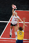 MADISON, WI - NOVEMBER 18: The Wisconsin Badgers volleyball team against the Michigan Wolverines at the Fieldhouse on November 18, 2005 in Madison, Wisconsin. The Badgers beat the Wolverines 3-0. Photo by David Stluka.