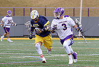 University at Albany Men's Lacrosse defeats Drexel 18-5 on Feb. 24 at Casey Stadium.  T.D. Ierlan (#3) carries on of his 20 won faceoffs. (Photo by Bruce Dudek / Cal Sport Media/Eclipse Sportswire)