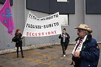 Vicenza: militanti della Lega Nord durante la seduta del parlamento della Padania alla fiera di Vicenza