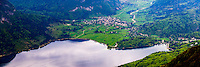 Panoramic photo of Lake Bohinj (Bohinjsko Jezero) seen from Vogel Ski Resort, Triglav National Park, Julian Alps, Slovenia, Europe