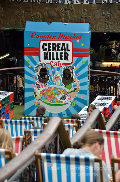 Cereal Killer Cafe in Camden Stables Market, Camden Town, London, UK.