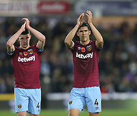 West Ham United's Fabian Balbuena and Declan Rice acknowledge the fans at the end of the game<br /> <br /> Photographer Rob Newell/CameraSport<br /> <br /> The Premier League - Huddersfield Town v West Ham United - Saturday 10th November 2018 - John Smith's Stadium - Huddersfield<br /> <br /> World Copyright © 2018 CameraSport. All rights reserved. 43 Linden Ave. Countesthorpe. Leicester. England. LE8 5PG - Tel: +44 (0) 116 277 4147 - admin@camerasport.com - www.camerasport.com