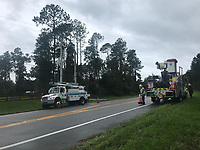 FPL crews restoring power during Hurricane Hurricane Dorian in St. Augustine, Fla. on September 4, 2019
