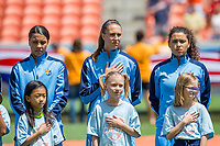 Houston, TX - Saturday May 13, Sky Blue players Samantha Kerr, Sarah Killion, and Raquel Rodriguez stand for the national anthem during a regular season National Women's Soccer League (NWSL) match between the Houston Dash and Sky Blue FC at BBVA Compass Stadium. Sky Blue won the game 3-1.