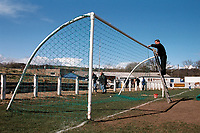 The goal nets are taken down at Durham City FC Football Ground, Ferens Park, The Sands, Durham, pictured on 4th April 1994