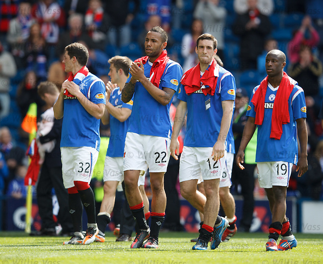 Rangers players on their lap of honour